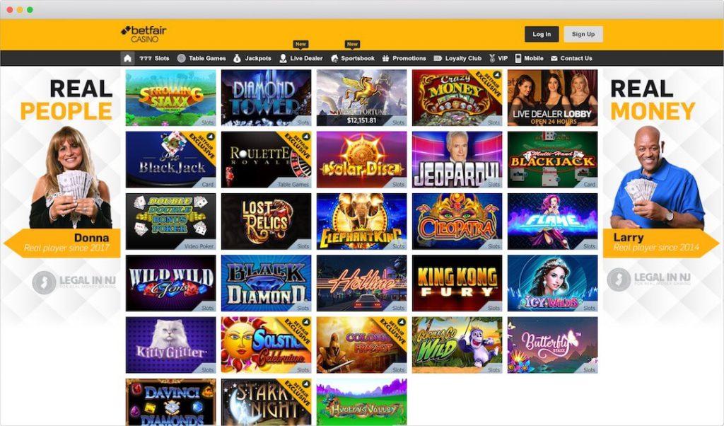 Betfair Online Casino Lobby