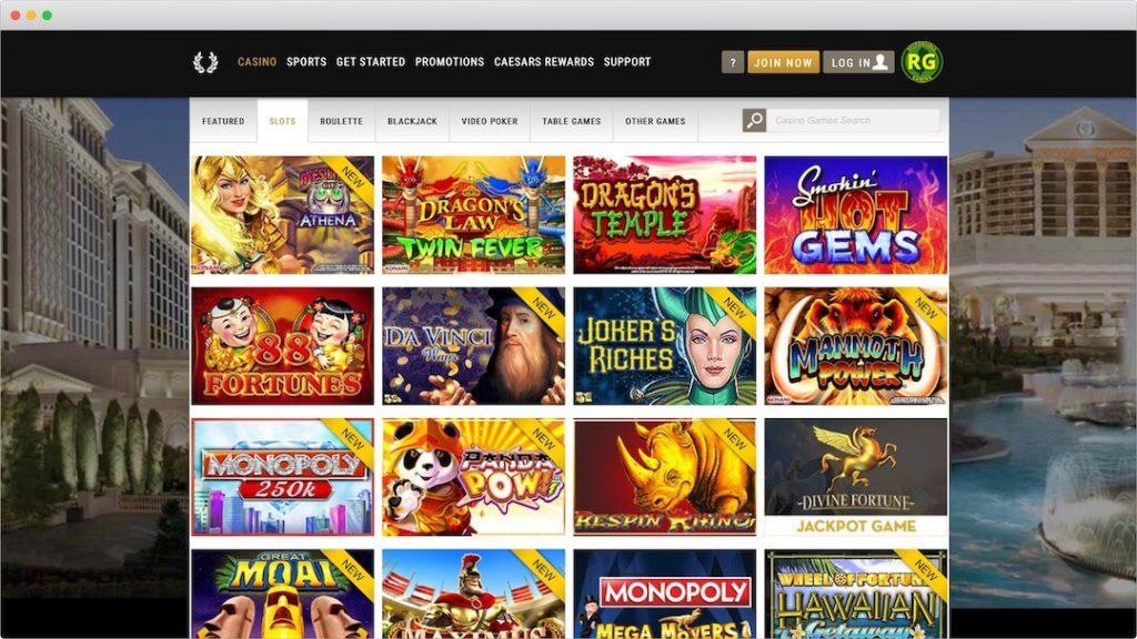 Caesars Online Casino Lobby