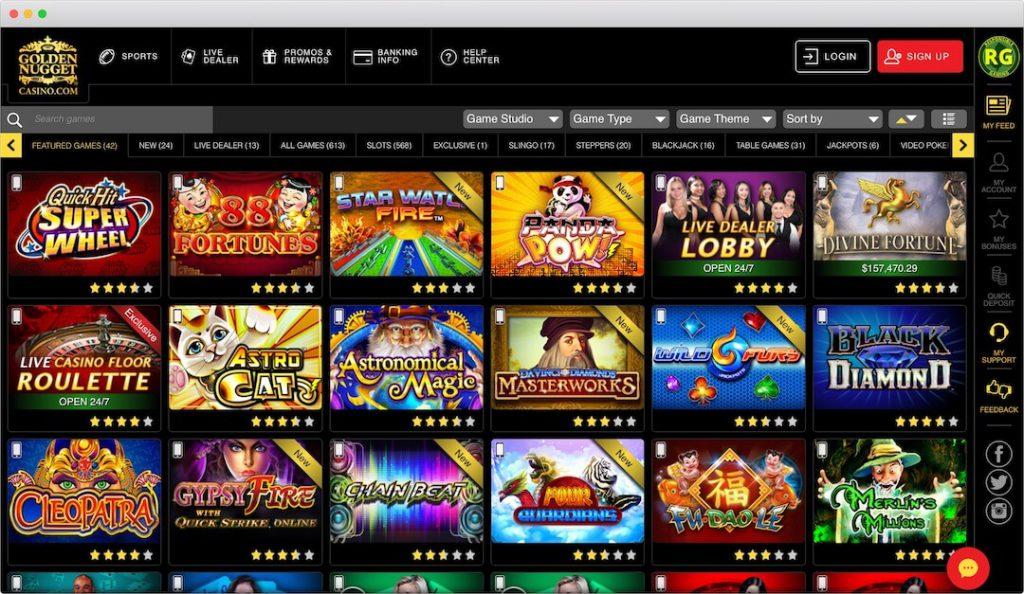 Golden Nugget Online Casino Lobby