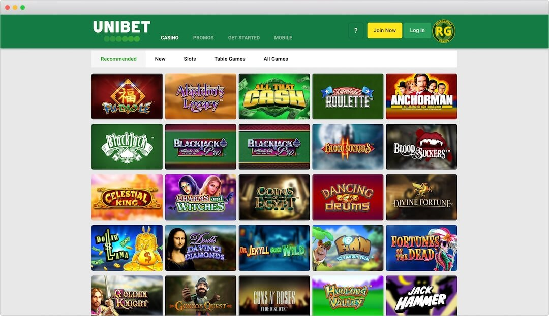 Unibet Online Casino Lobby