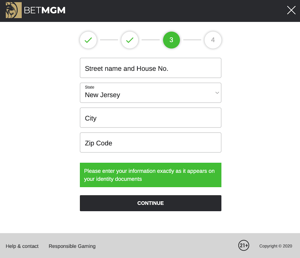 BetMGM Registration Process Step 3