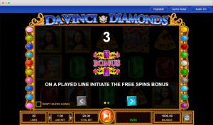 Da Vinci Diamonds bonus feature