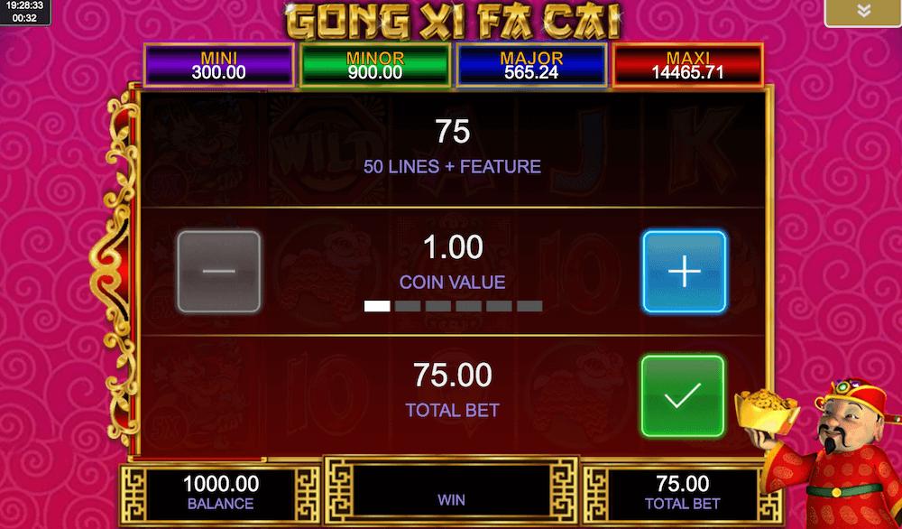 Gong Xi Fa Cai Slot Bet Value